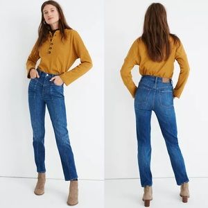 Madewell Classic Straight Bandry Wash Seamed Jeans